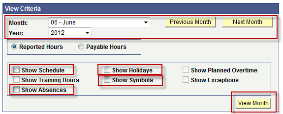 Timekeeper View Schedule Criteria